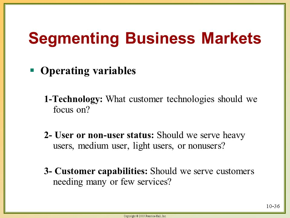 Market Segmentation in B2B Markets