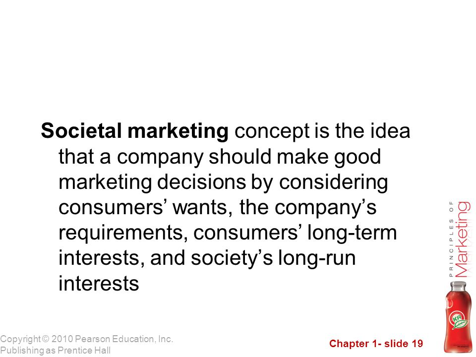 Societal marketing concept is the idea that a company should make good marketing decisions by considering consumers' wants, the company's requirements, consumers' long-term interests, and society's long-run interests