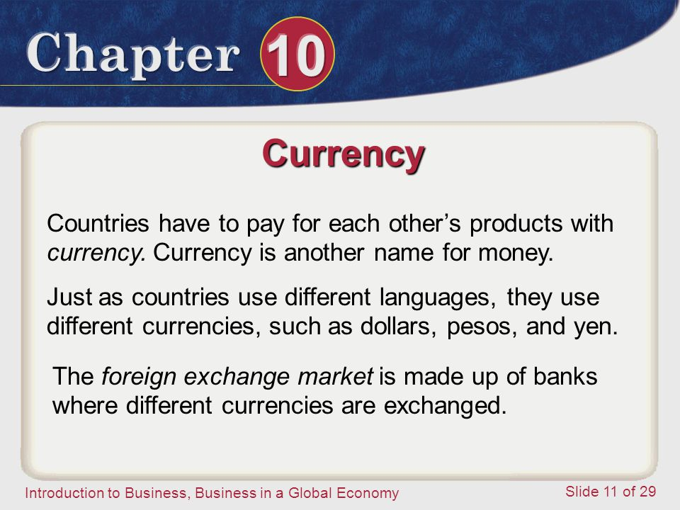 Currency Countries have to pay for each other's products with currency. Currency is another name for money.