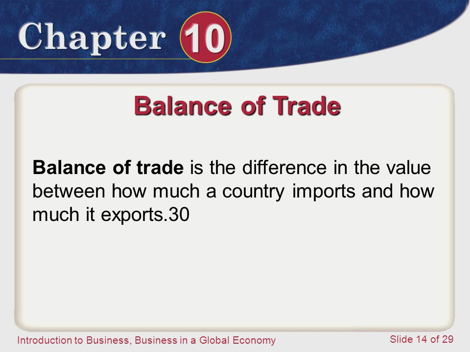Balance of Trade Balance of trade is the difference in the value between how much a country imports and how much it exports.30.