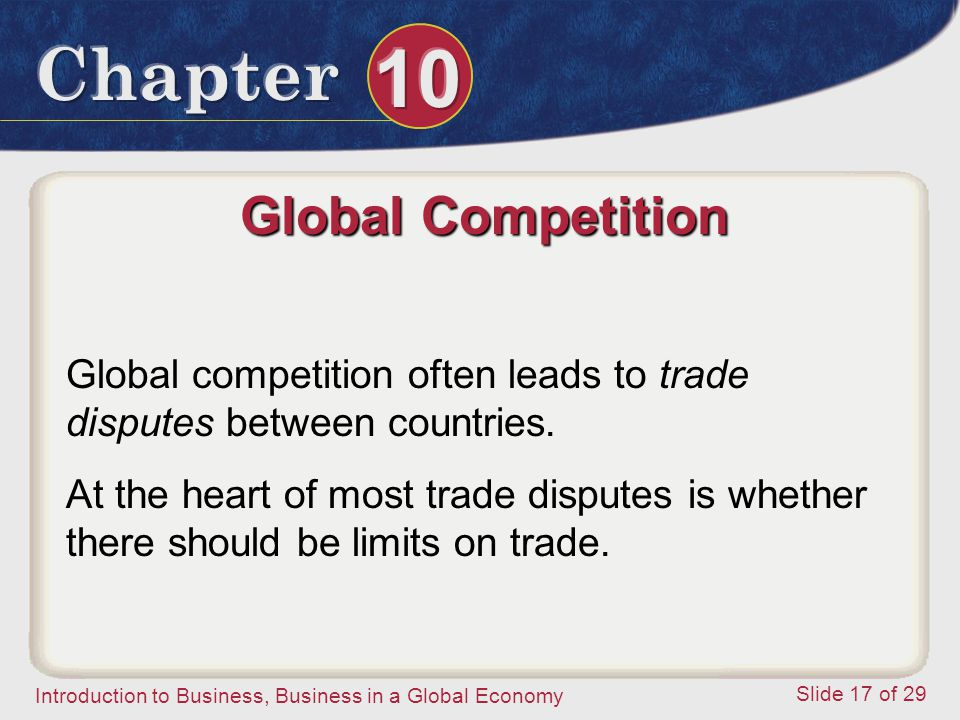 Global Competition Global competition often leads to trade disputes between countries.