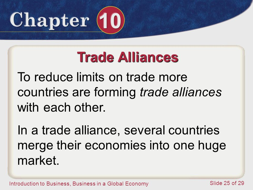 Trade Alliances To reduce limits on trade more countries are forming trade alliances with each other.