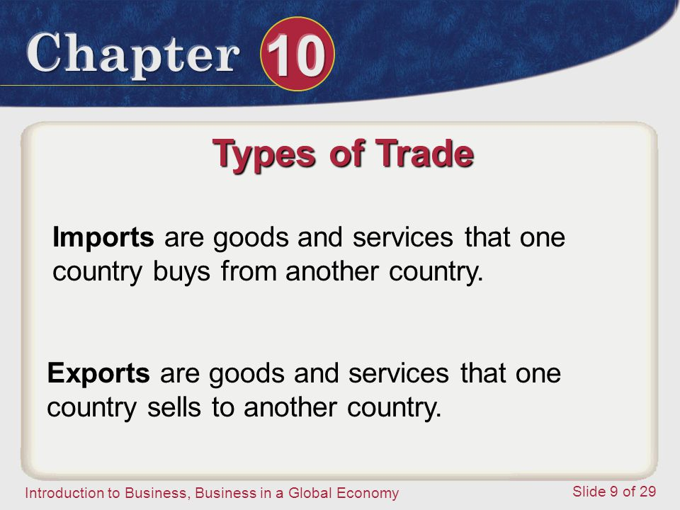 Types of Trade Imports are goods and services that one country buys from another country.