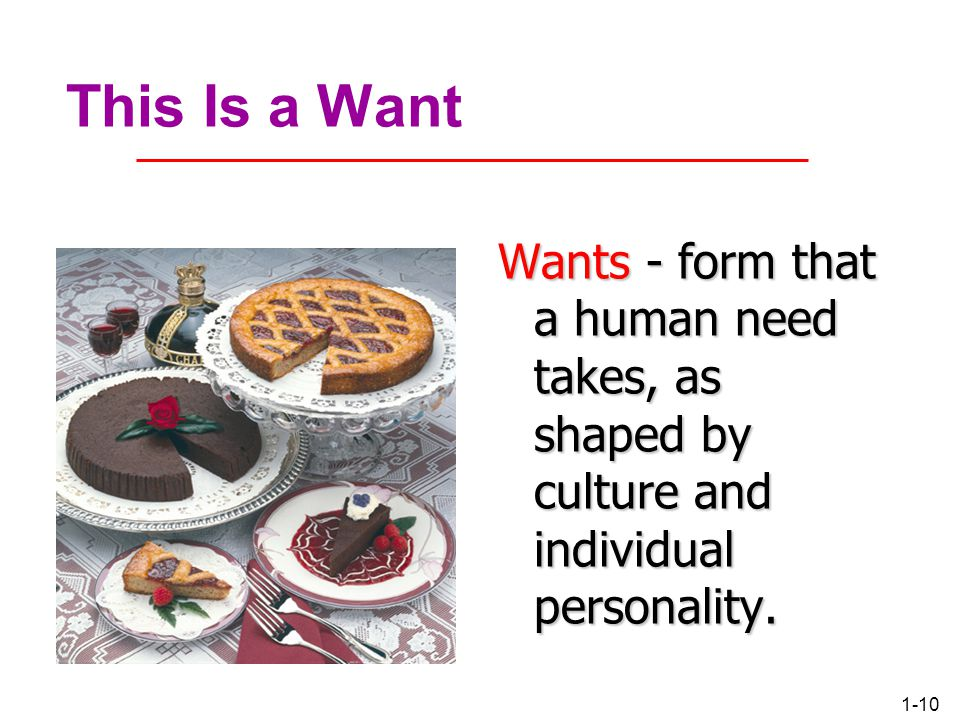 This Is a Want Wants - form that a human need takes, as shaped by culture and individual personality.
