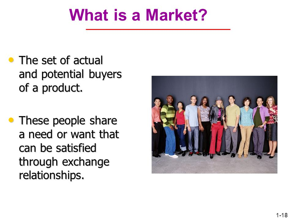 What is a Market The set of actual and potential buyers of a product.