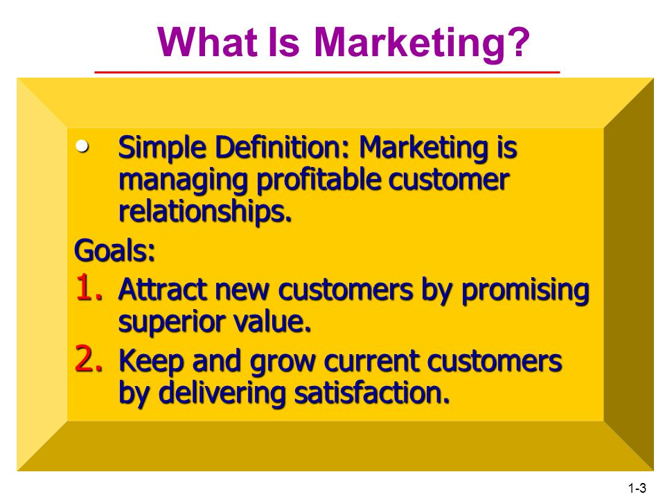 Chapter 1 What Is Marketing Simple Definition: Marketing is managing profitable customer relationships.