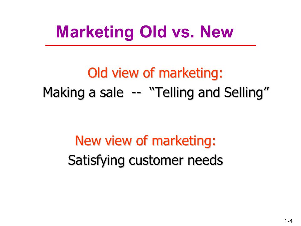 Marketing Old vs. New Old view of marketing: