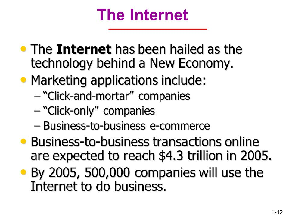 Chapter 1 The Internet. The Internet has been hailed as the technology behind a New Economy. Marketing applications include: