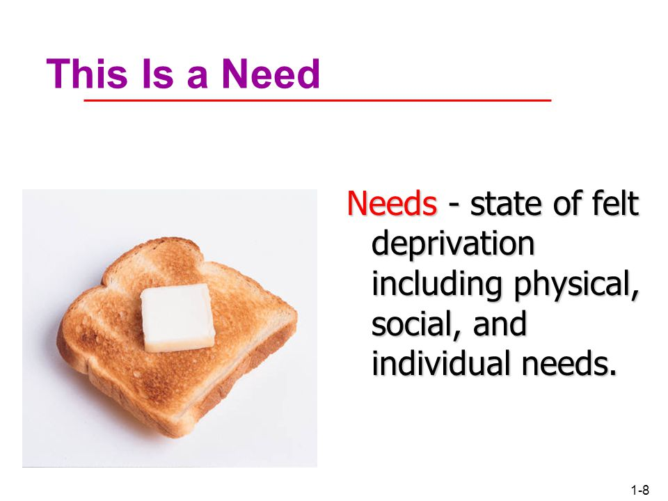 This Is a Need Needs - state of felt deprivation including physical, social, and individual needs.