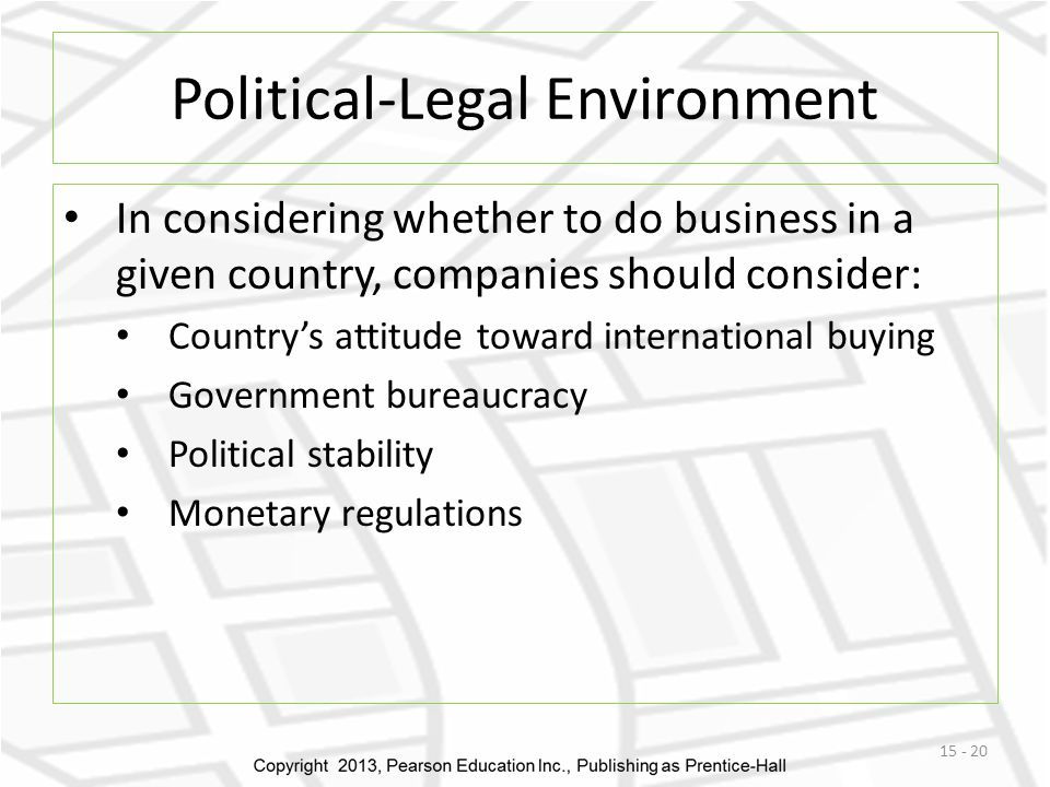 the legal political trade environment The political and legal environment of china economics essay the political/legal environment: eg free trade zones, loans, etc political stability.