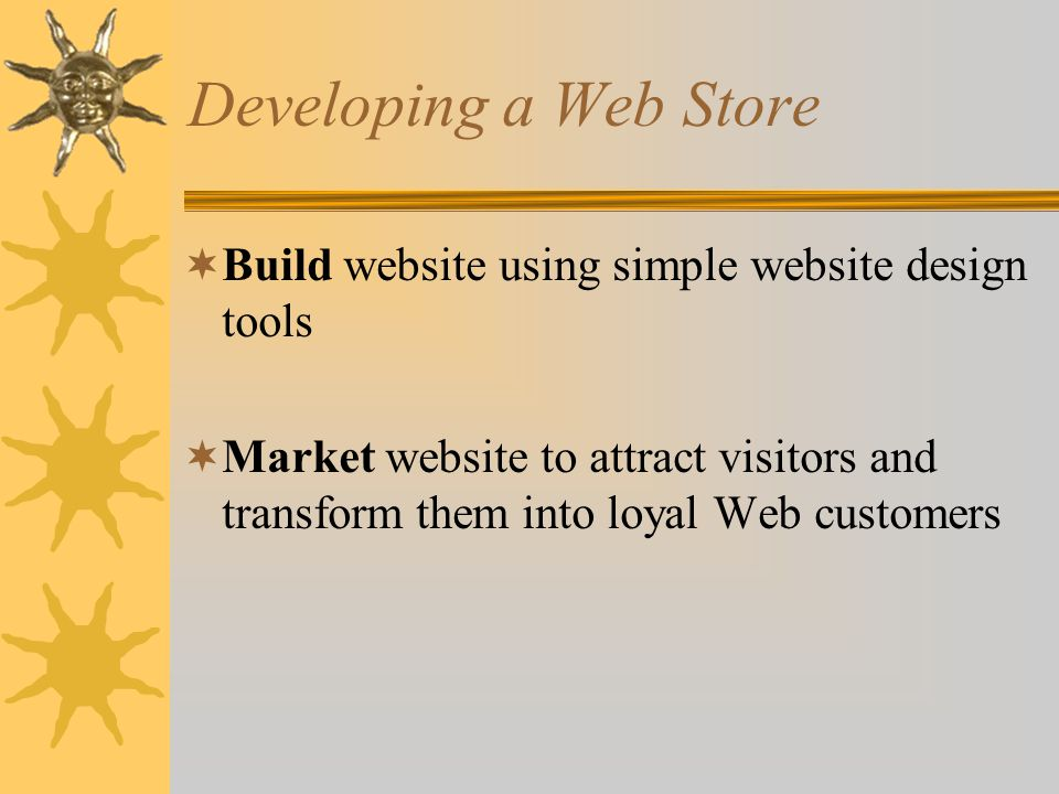 Developing a Web Store Build website using simple website design tools