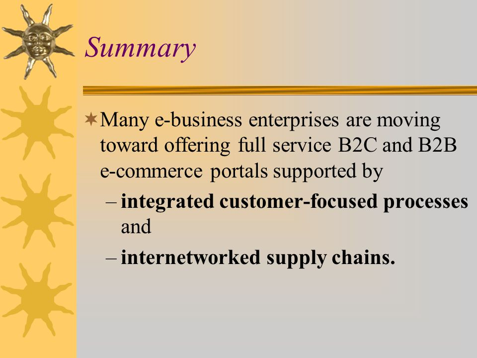 Summary Many e-business enterprises are moving toward offering full service B2C and B2B e-commerce portals supported by.