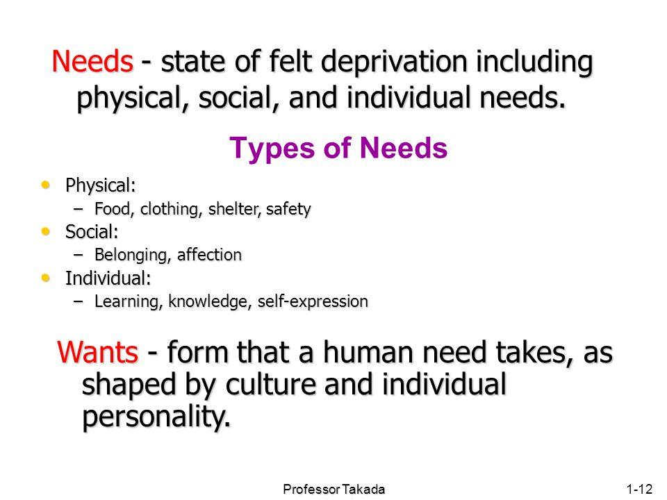 Chapter 1 Needs - state of felt deprivation including physical, social, and individual needs. Types of Needs.