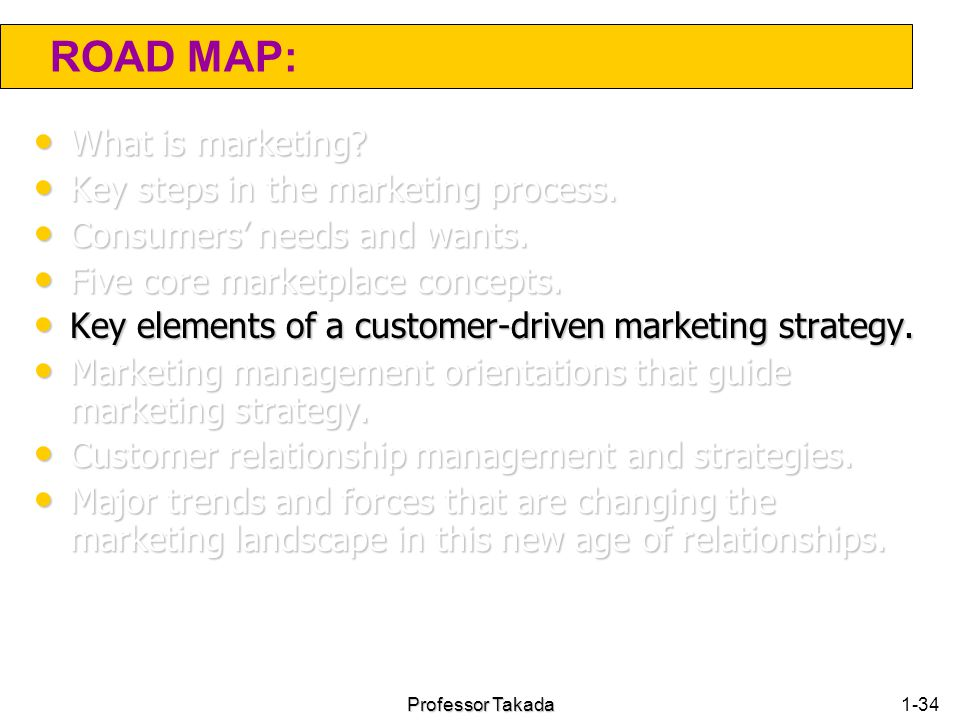 ROAD MAP: What is marketing Key steps in the marketing process.