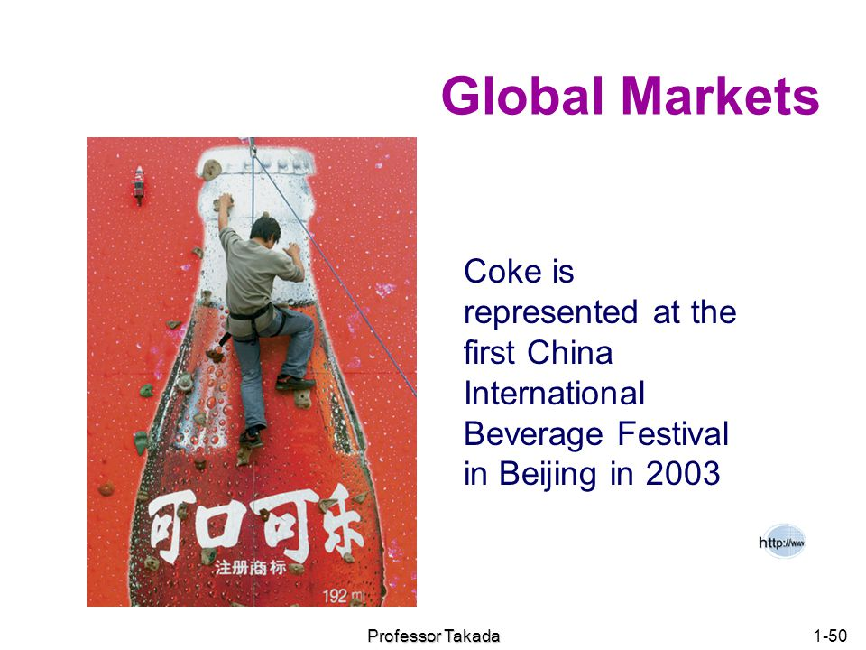 Chapter 1 Global Markets. Coke is represented at the first China International Beverage Festival in Beijing in