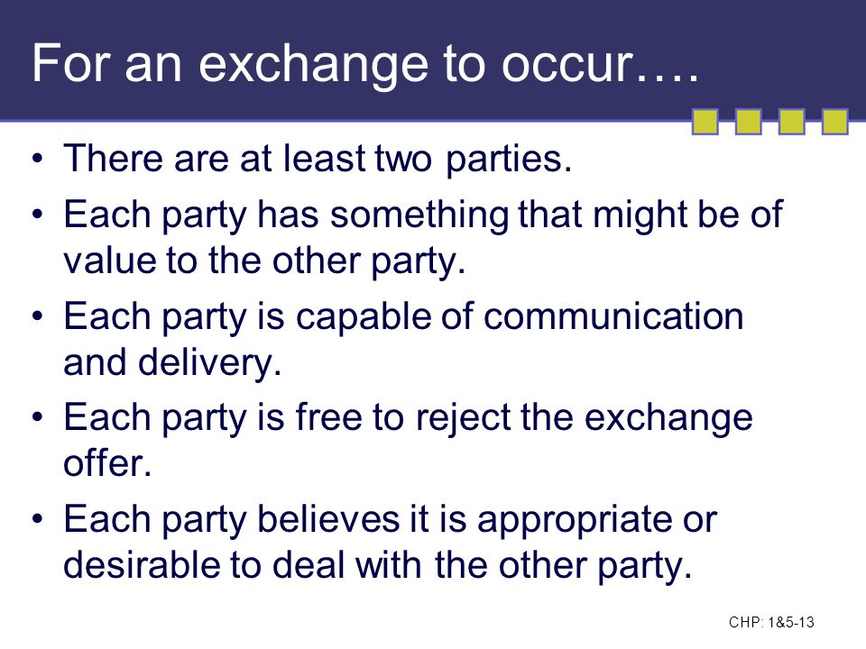 For an exchange to occur….