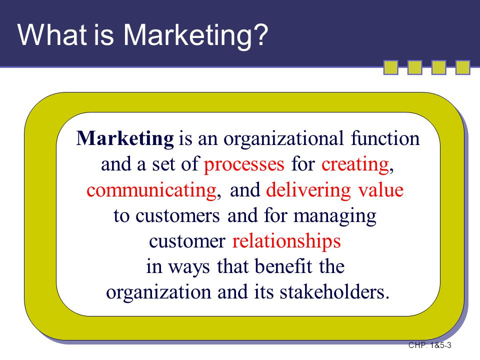 What is Marketing Marketing is an organizational function