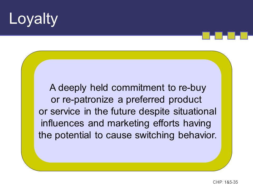Loyalty A deeply held commitment to re-buy