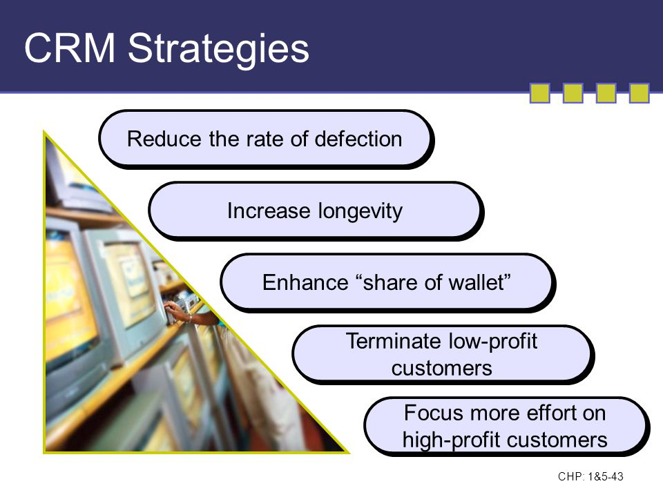 CRM Strategies Reduce the rate of defection Increase longevity