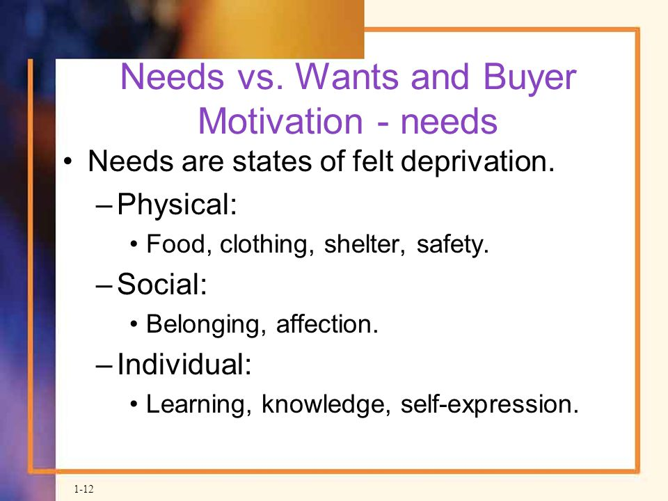 Needs vs. Wants and Buyer Motivation - needs