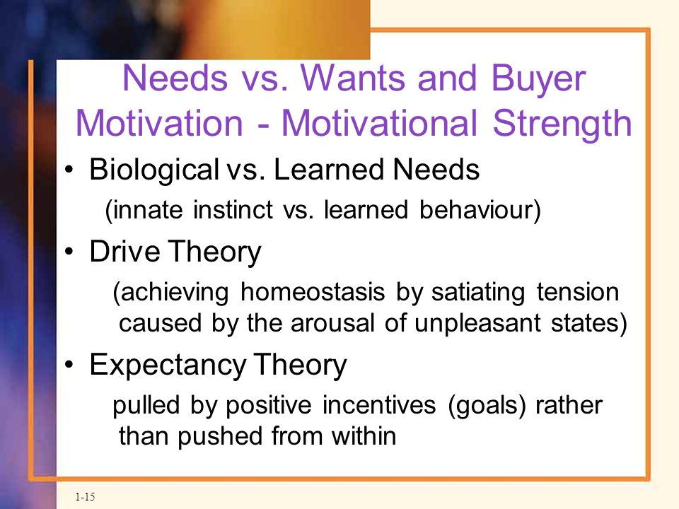 Needs vs. Wants and Buyer Motivation - Motivational Strength