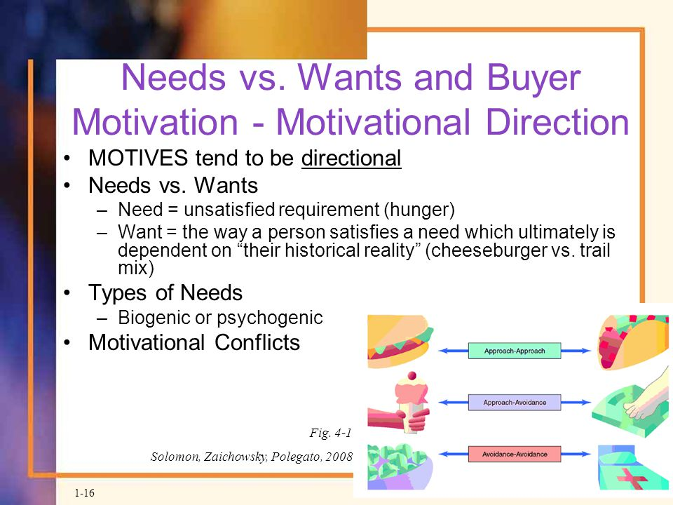 Needs vs. Wants and Buyer Motivation - Motivational Direction