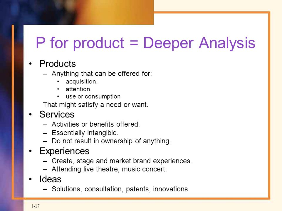 P for product = Deeper Analysis