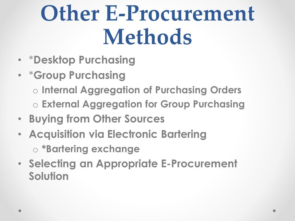 Other E-Procurement Methods