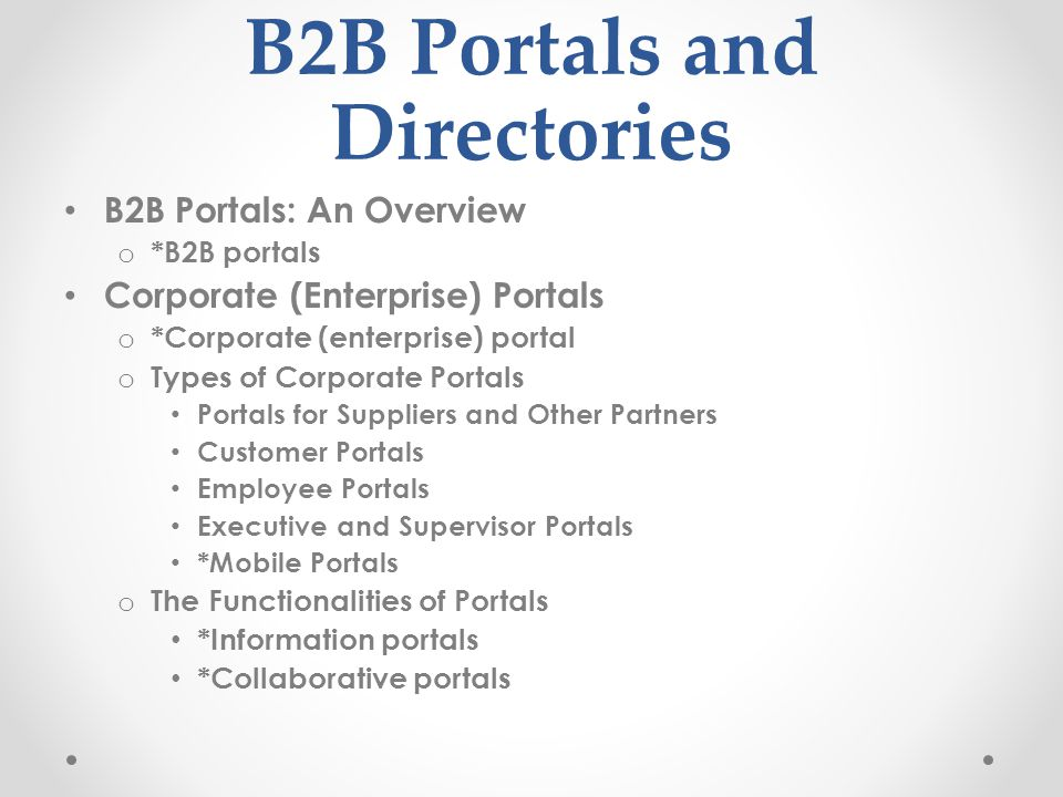 B2B Portals and Directories