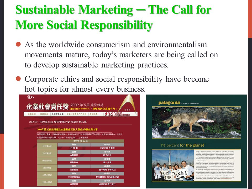 Sustainable Marketing ─ The Call for More Social Responsibility