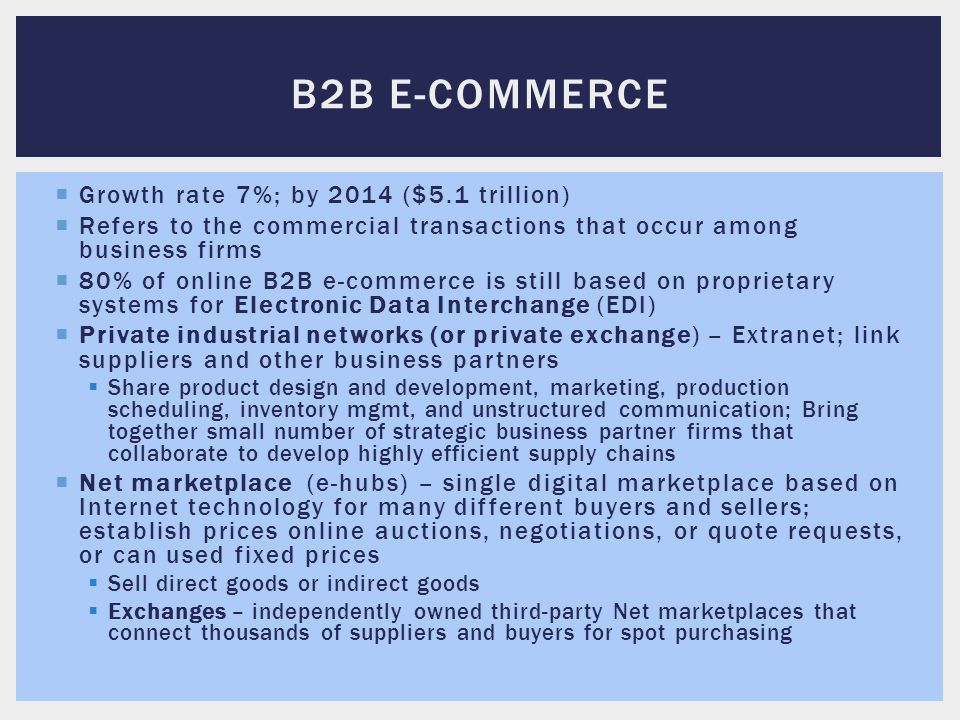 B2B E-commerce Growth rate 7%; by 2014 ($5.1 trillion)