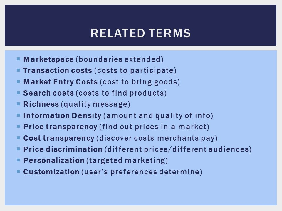 Related terms Marketspace (boundaries extended)