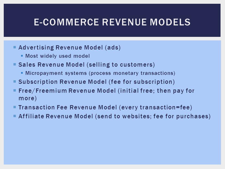 E-commerce revenue models