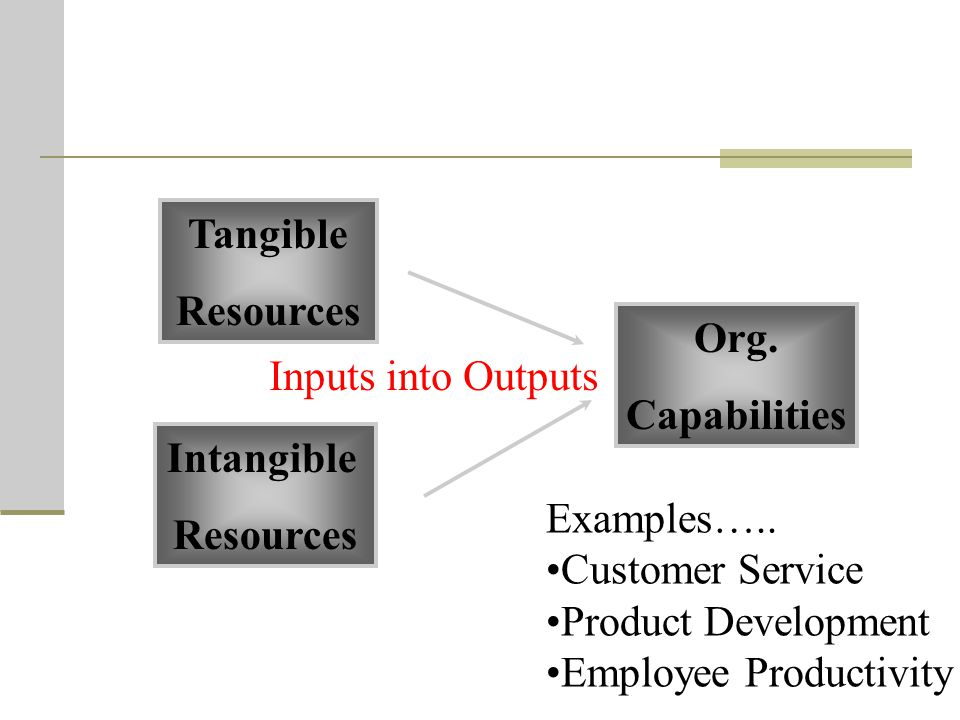 Tangible Resources. Org. Capabilities. Inputs into Outputs. Intangible. Resources. Examples…..