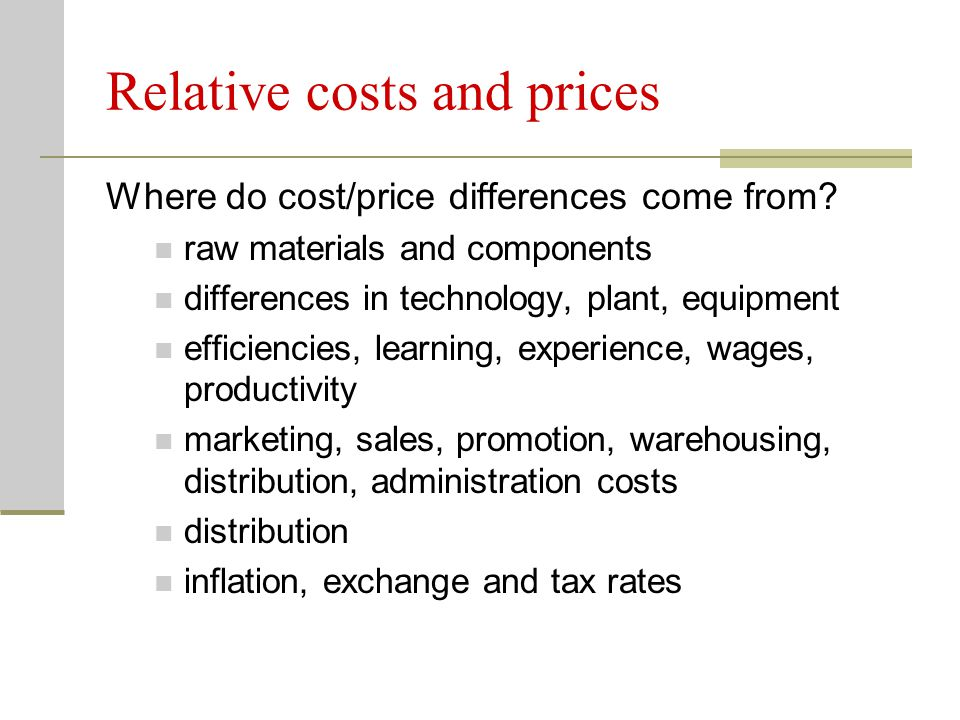 Relative costs and prices
