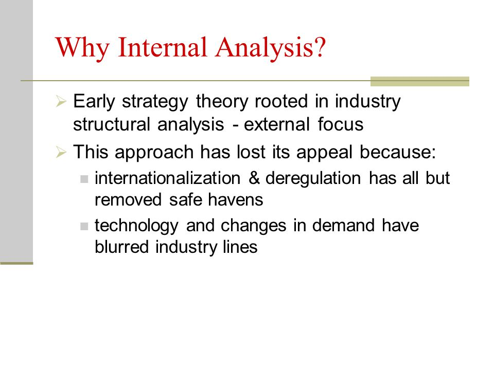 Why Internal Analysis Early strategy theory rooted in industry structural analysis - external focus.