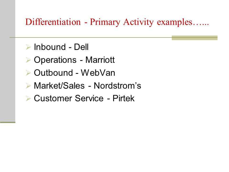 Differentiation - Primary Activity examples…...