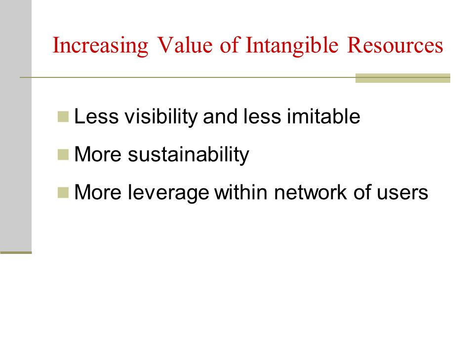 Increasing Value of Intangible Resources