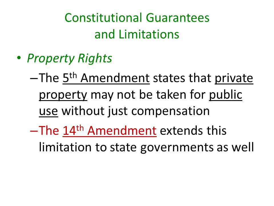Constitutional Guarantees and Limitations
