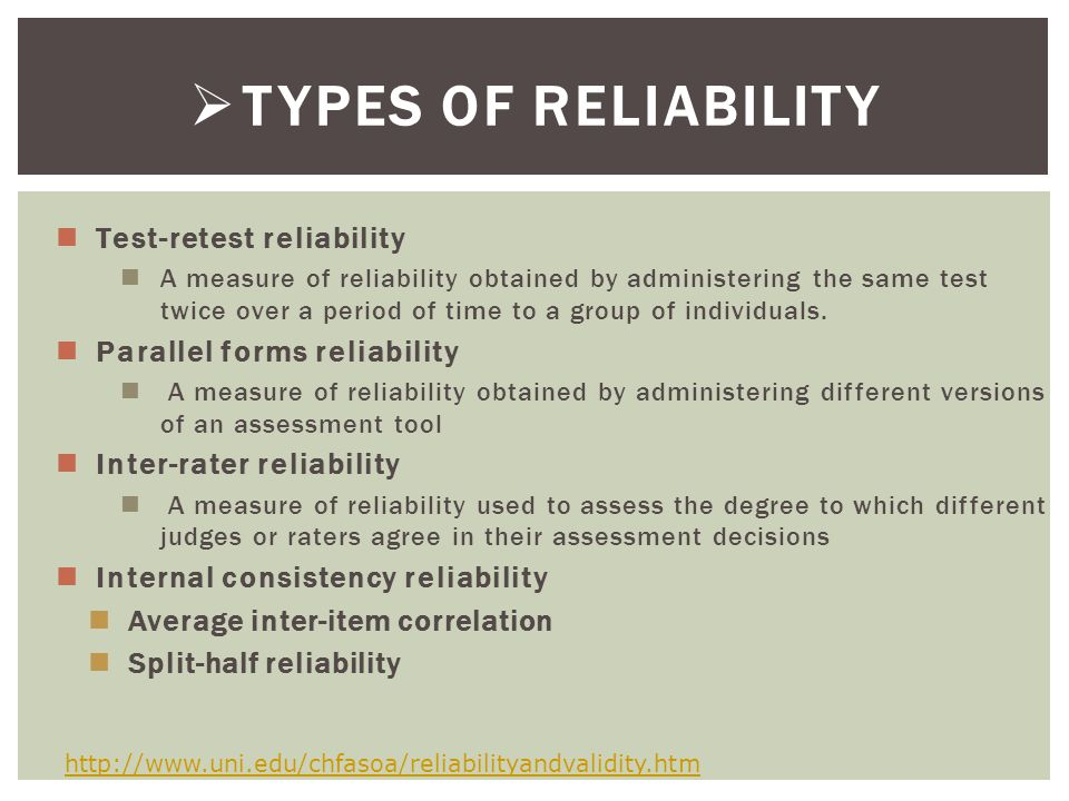 TYPES OF RELIABILITY Test-retest reliability