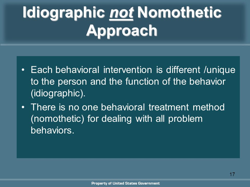 nomothetic approch to personality Personality is what makes us unique but how should we measure it in this lesson, we'll examine the two major psychological approaches to.