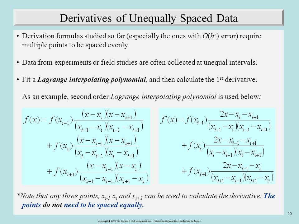 Derivatives of Unequally Spaced Data