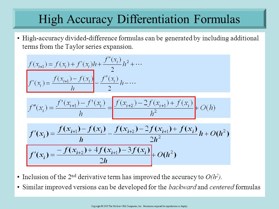 High Accuracy Differentiation Formulas
