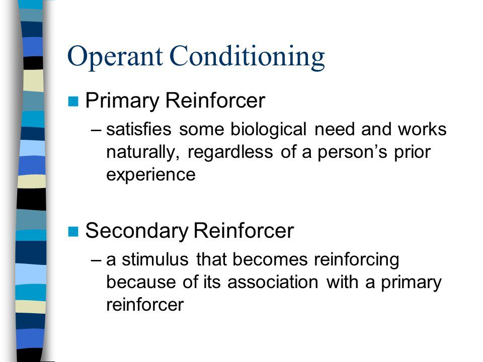 Operant Conditioning Primary Reinforcer Secondary Reinforcer