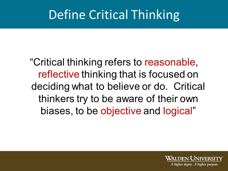 critical thinking means to you
