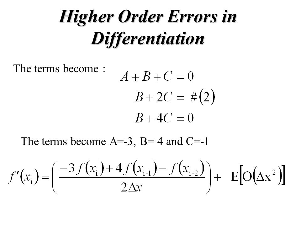 Higher Order Errors in Differentiation
