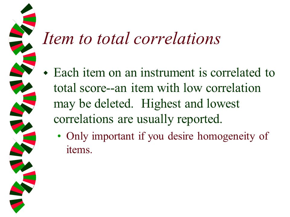 Item to total correlations