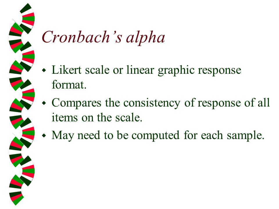 Cronbach's alpha Likert scale or linear graphic response format.