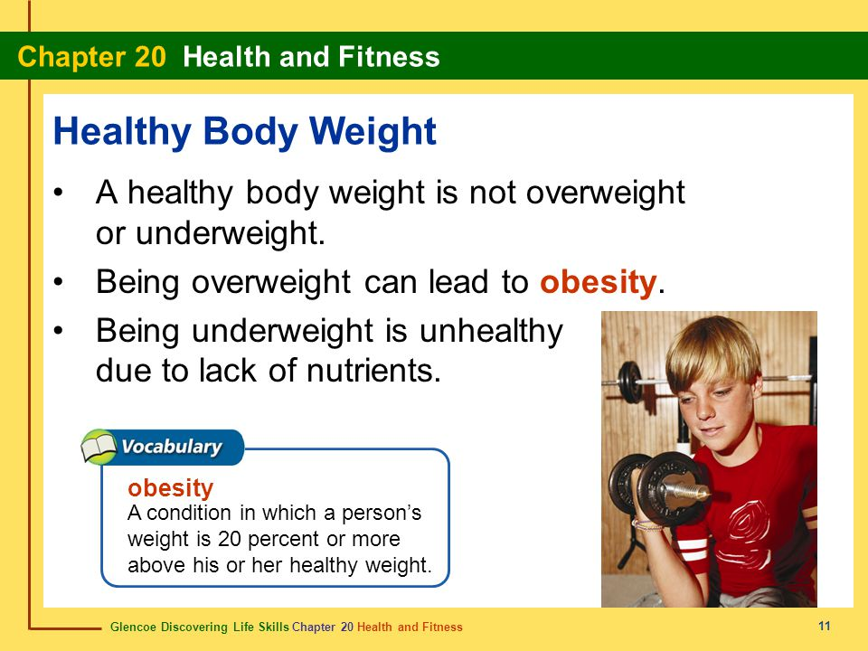 Healthy Body Weight A healthy body weight is not overweight or underweight. Being overweight can lead to obesity.