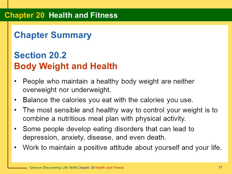 Chapter Summary Section 20.2 Body Weight and Health